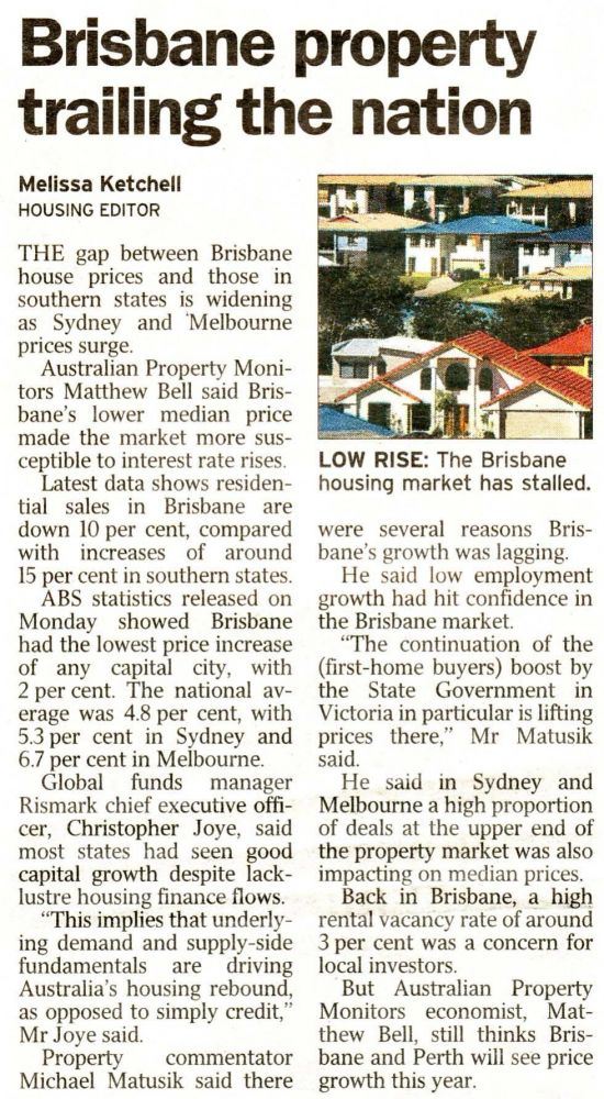 Brisbane Property Trailing The Nation